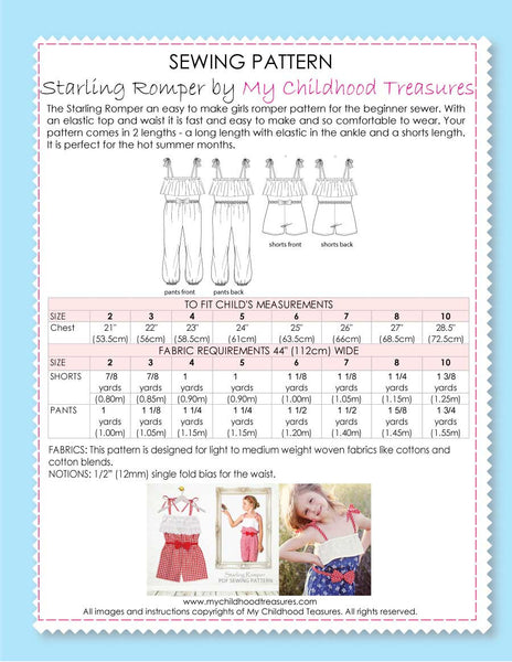 romper sewing pattern by MCT