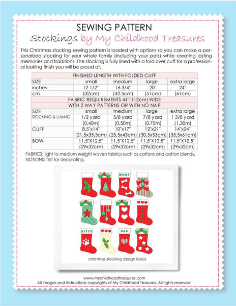 Christmas Stocking Sewing Pattern – TREASURIE - My Childhood Treasures