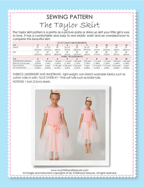 Free Sewing Pattern - Taylor Tutu Skirt – TREASURIE - My Childhood ...