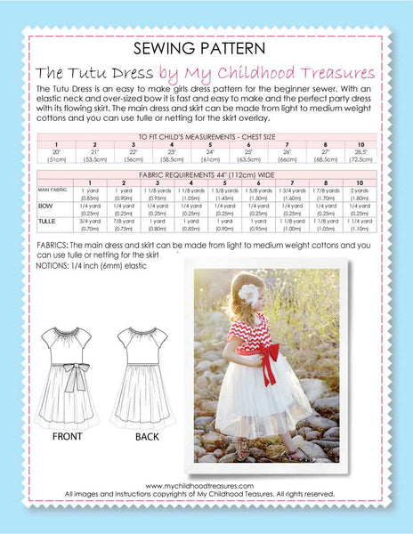 tutu dress sewing pattern by MCT