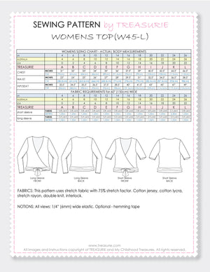 wrap top pattern, wrap top sewing pattern