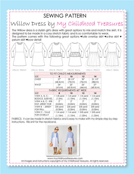 WILLOW - Girls Dress Patterns, Top Pattern - Stretch