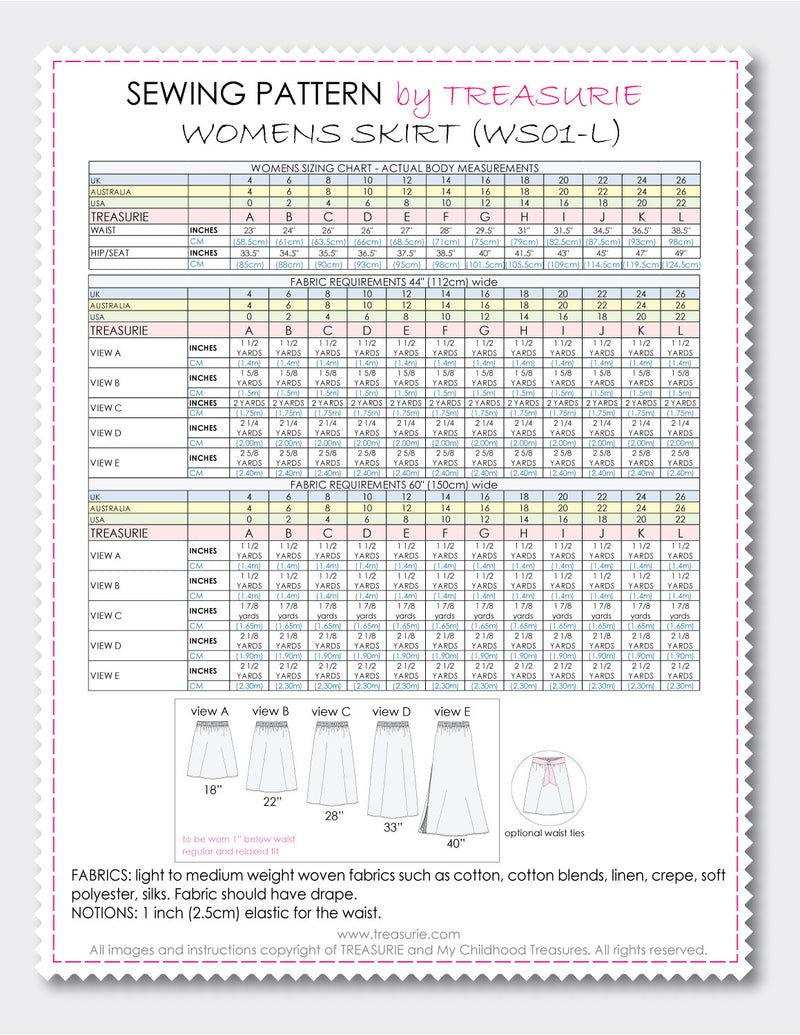 Skirt patterns, womens skirt patterns by Treasurie