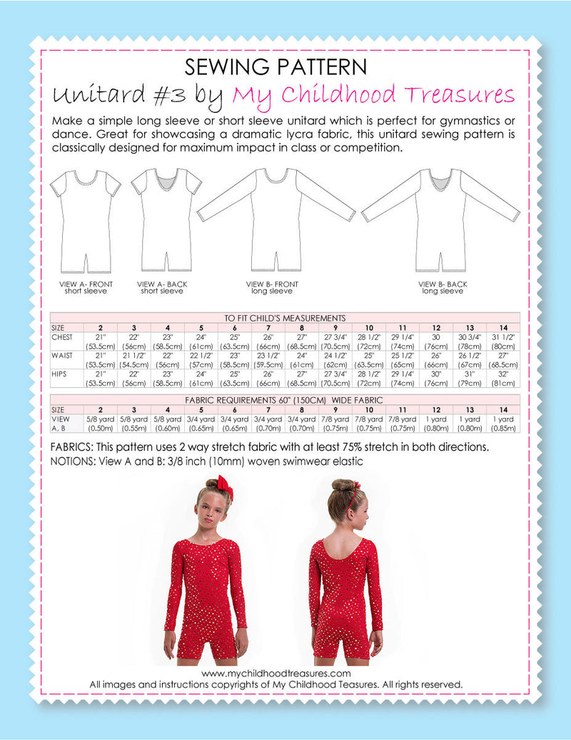 Unitard Patterns - Girls - UNITARD#3 - Short/Long Sleeve (LU03)
