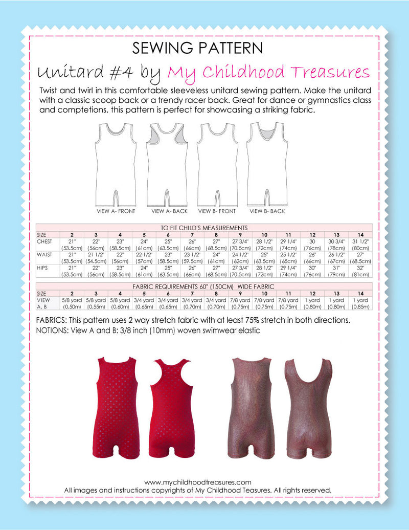 Unitard Patterns - Girls - UNITARD#4 - Racer & Scoop back (LU04)