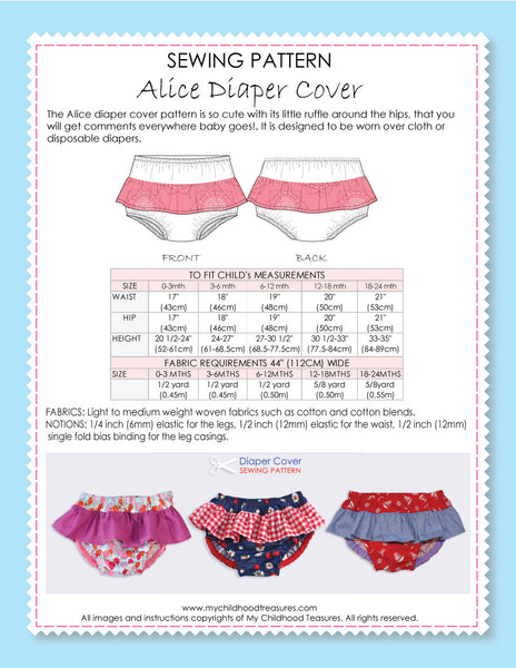 Alice ruffle diaper cover pattern by MCT