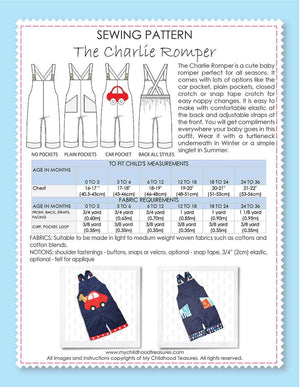 CHARLIE - Boys Romper Sewing Pattern - 2 pocket options