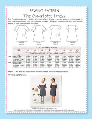 CHARLOTTE - Girls Dress Patterns - Stretch, Short & 3/4 Sleeves