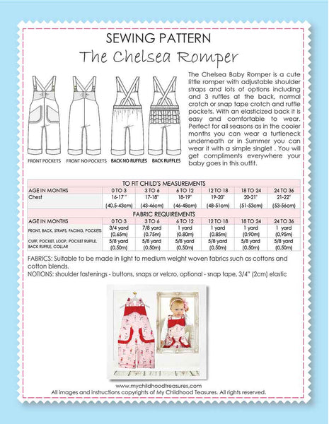 CHELSEA - Baby Ruffle Romper Sewing Pattern