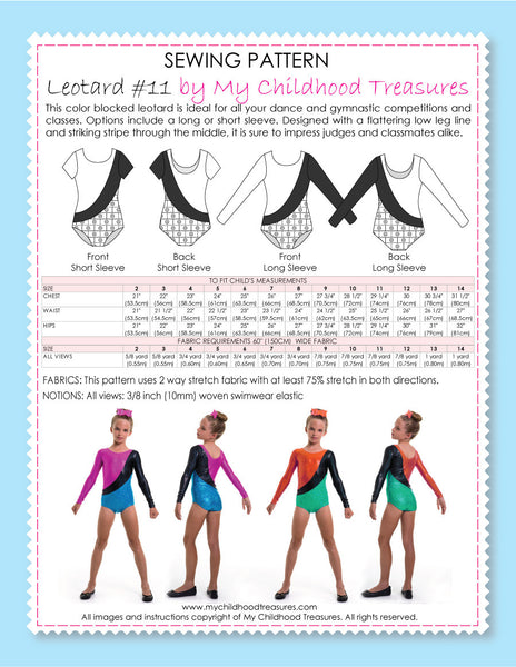 Leotard Patterns Leotard 11 Girls Short Long Sleeve L511