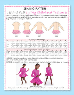 leotard patterns, dance patterns, LEOTARD #16