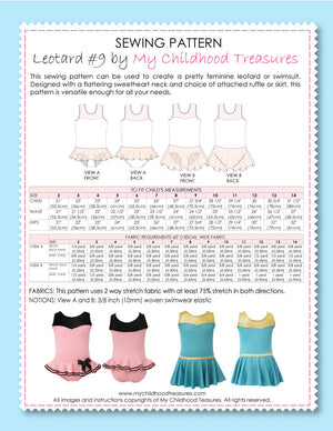 leotard patterns, swimsuit patterns, leotard #9