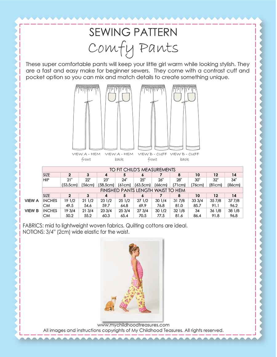 Comfy Pants Sewing Pattern Treasurie My Childhood