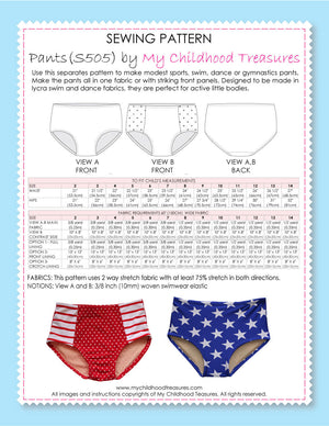Pants Pattern - High Waist Sports -  2 styles (S504)