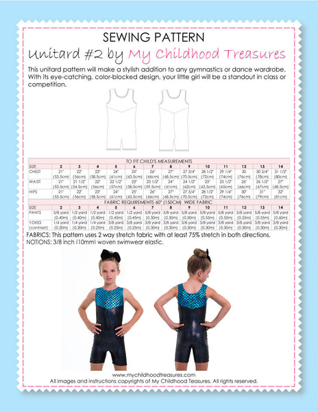 Unitard Patterns - Girls - UNITARD#2 - Sleeveless (LU02)