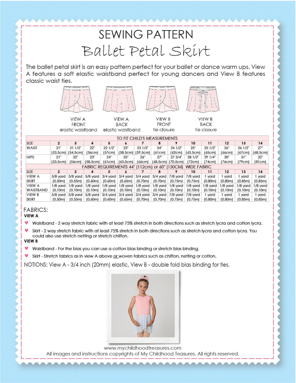Skirt Sewing Pattern- BALLET WRAP Skirt (S504)