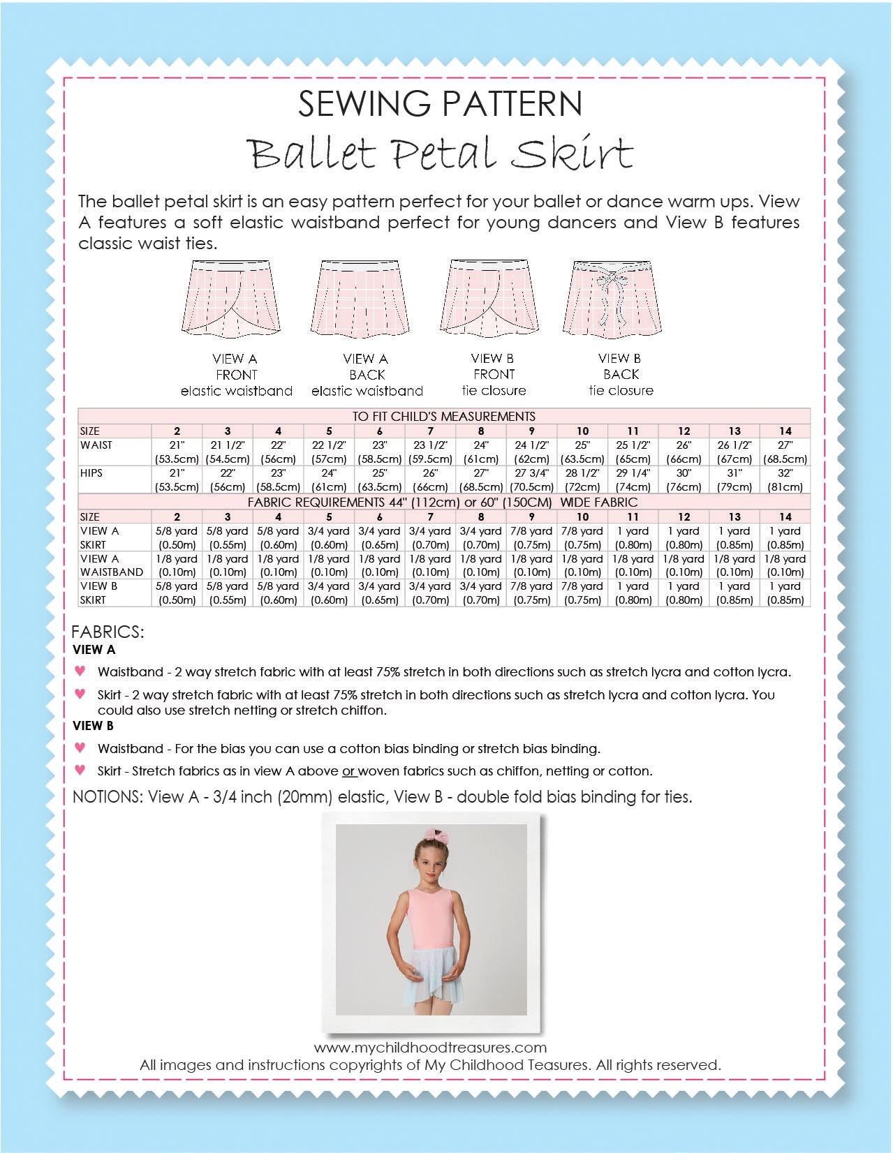 Girls Ballet Skirt Sewing Pattern – TREASURIE - My Childhood Treasures