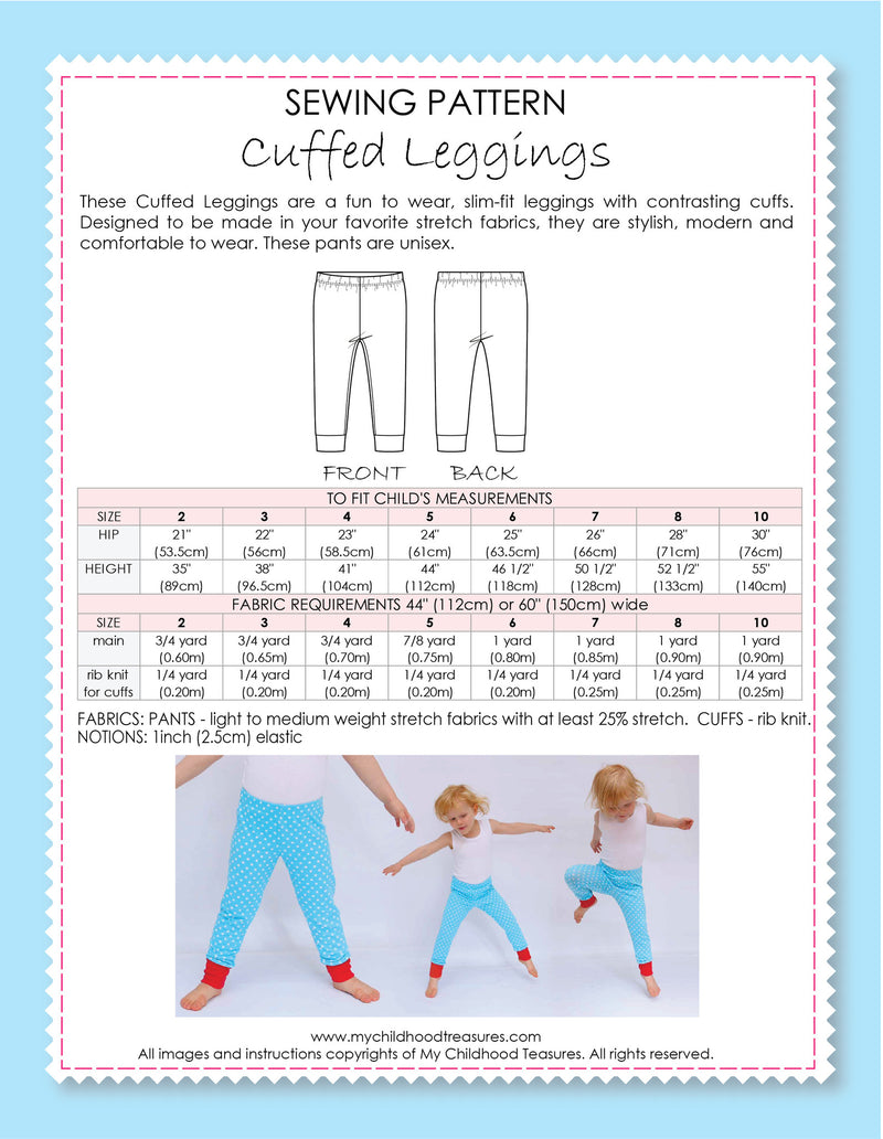 Leggings Sewing Pattern - CUFFED