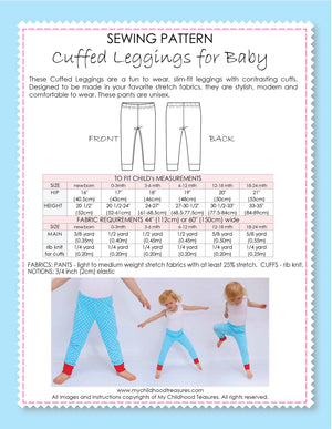 Leggings - BABY Pattern - CUFFED