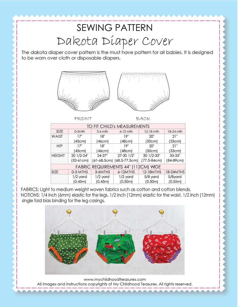 Diaper cover sewing pattern by MCT