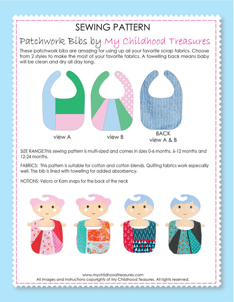 baby bib sewing pattern by MCT