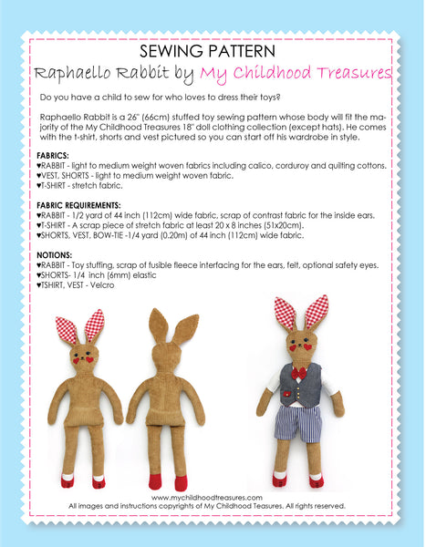 RAPHAELLO - Rabbit Toy Sewing Pattern (T1202)