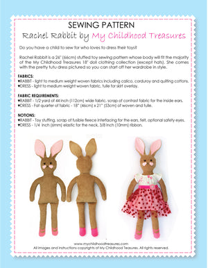 RACHEL - Rabbit Toy Sewing Pattern (T1201)