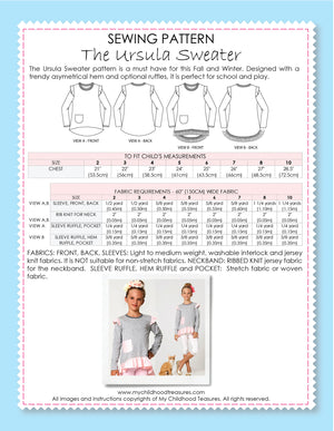URSULA - Girls Sweater Sewing Pattern