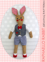 doll sewing pattern, rabbit doll pattern, softie sewing pattern