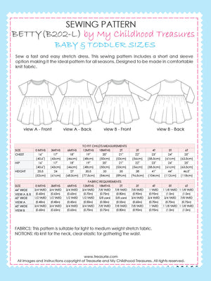 BETTY - Girls Dress Patterns - Stretch 0-6T