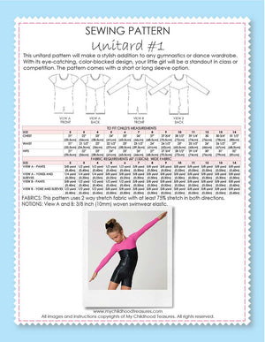 Unitard Patterns - Girls - UNITARD#1 - Short/Long Sleeve (LU01)