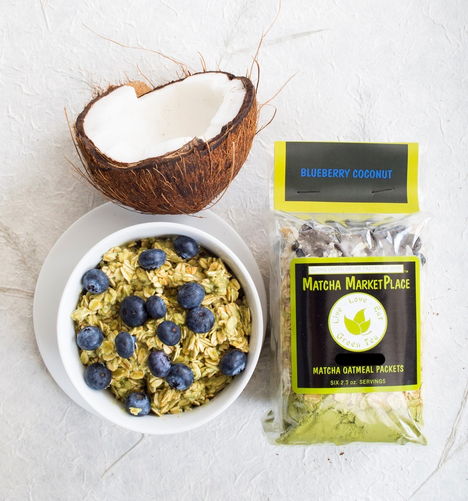 Blueberry Coconut Matcha Oatmeal