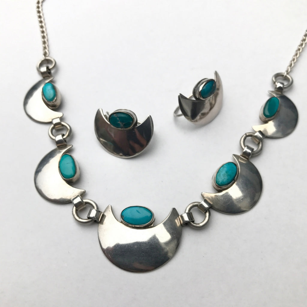 Turquoise Moon Necklace & Earring Set