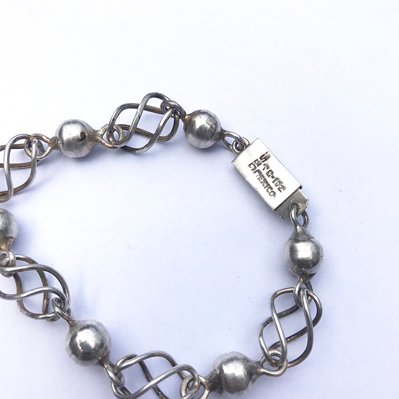 Mexican Silver Chain Link Ball Bracelet