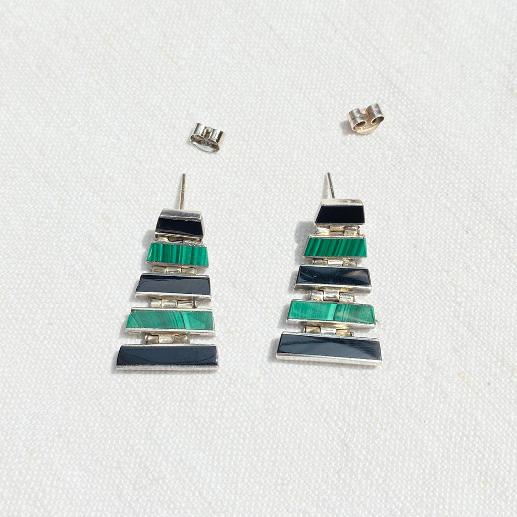 Vintage Malachite & Onyx Articulated Earring