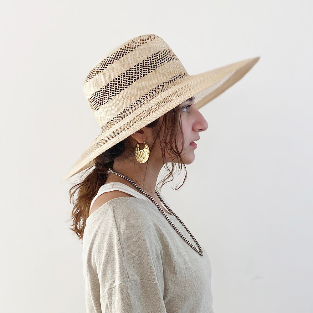 Buntal Border Flat Hat
