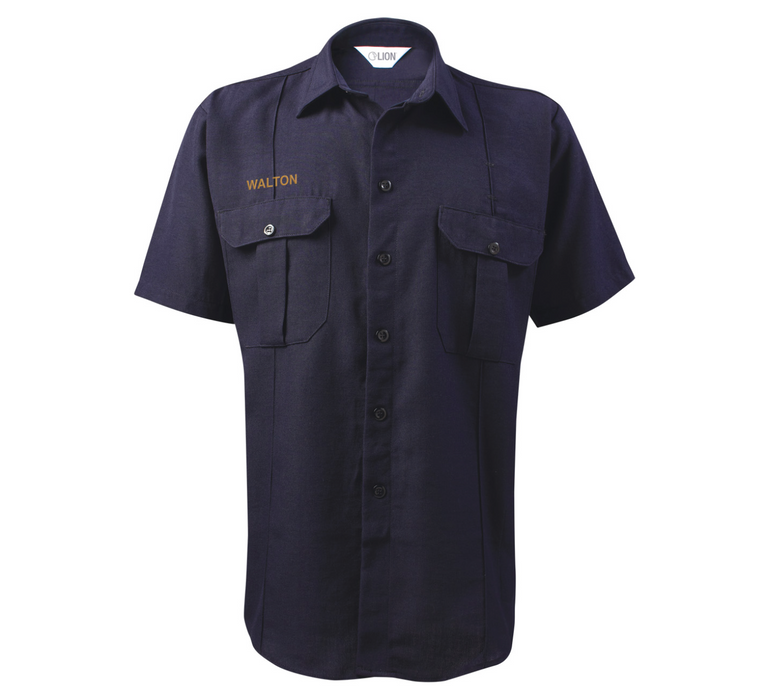 Lion Battalion Short Sleeve Shirt - 4.5 oz Nomex - Mitered Pockets - Navy