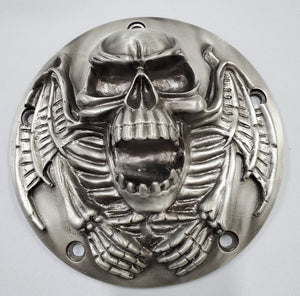 Motorcycle Derby Cover - Skull - Black Chrome finish - 5 Bolts