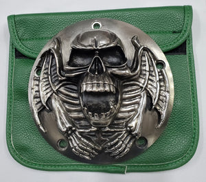 Motorcycle Derby Cover - Skull - Gunmetal finish - 3 Bolts