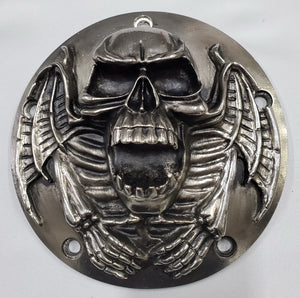 Motorcycle Derby Cover - Skull - Gunmetal finish - 5 Bolts