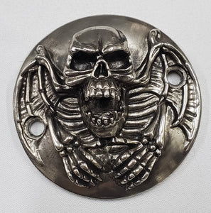 Motorcycle Points Cover - Skull - Gunmetal finish - 2 Bolts