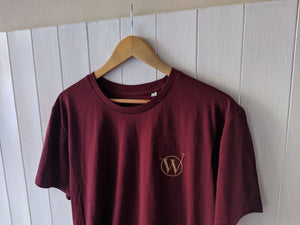 WDA - Signature Burgundy Tee With Gold Embroidery