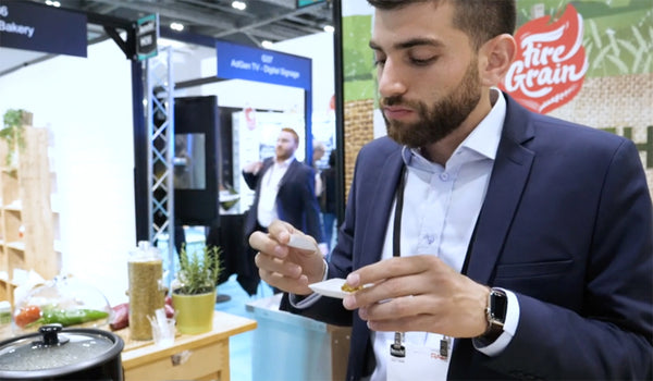 EcoTaster_PlasticFree_TastingSpoon_by_EcoTensil_FireGrain_Lunch2019Show
