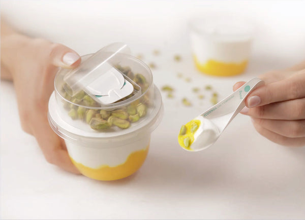 Mango cup yogurt with Paper Board Folded EcoSpoon by EcoTensil