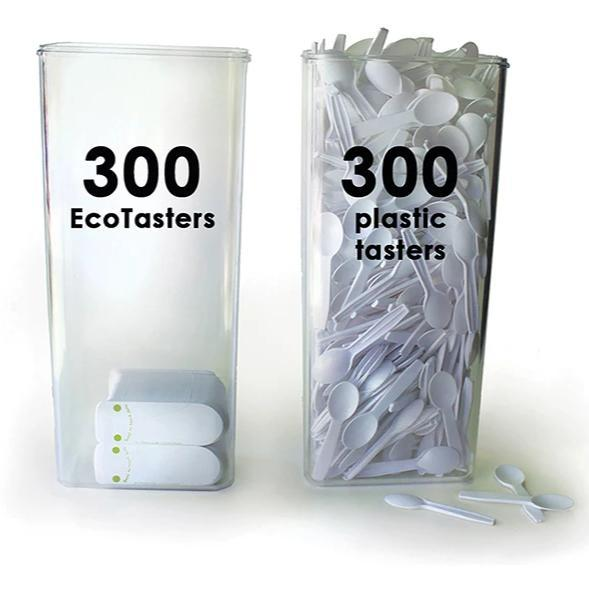 A comparison of 300 plastic spoons to 300 Ecotaster utensils show that eco friendly utensils use less space!