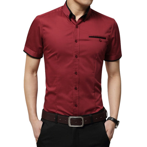 BROWON Men's Summer Business Shirt Short Sleeves