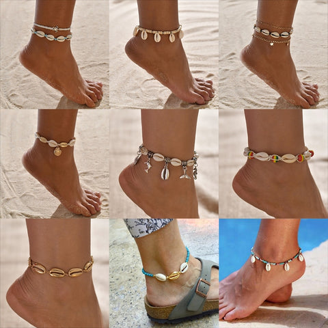 Sea Shell Turtle Dolphin beads Beach Ankle