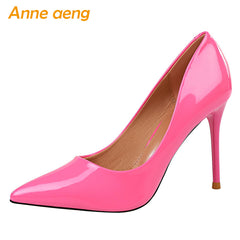 9.5cm High Thin Heels Pointed Toe Solid Shallow Sexy Heels Pumps