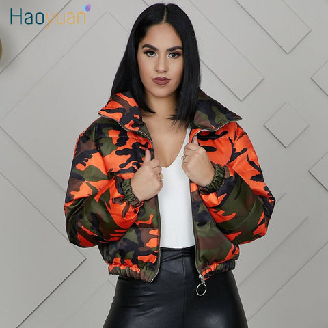 Camouflage Puffer Jacket Women Winter Wear