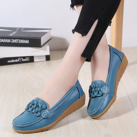 Genuine Leather Woman Soft Boat shoes f  Non-Slip